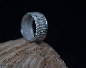 Silver ring with texture and smooth strip, EU size 16.75 - 17