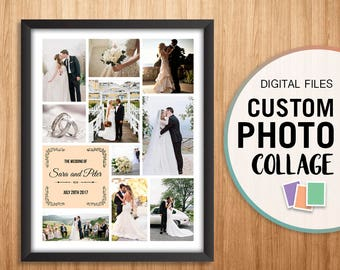 Wedding Photo Collage, Wedding Photo Gift For Parents, Personalized Wedding Photo, Custom Wedding Photo Collage, Wedding Gift Ideas, Print