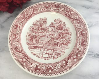 """Memory Lane 10"""" Dinner Plate by Royal China Red and White Transferware Willow"""