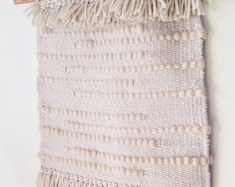 Monochromatic wall hanging - pale pink and ivory - fringe