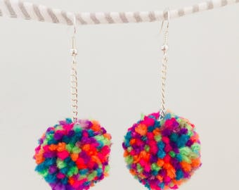 Mardi Gras - handmade pom-pom earrings