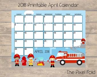 SALE Printable April 2018 Calendar | Cute Planner | Fire Trucks Fireman