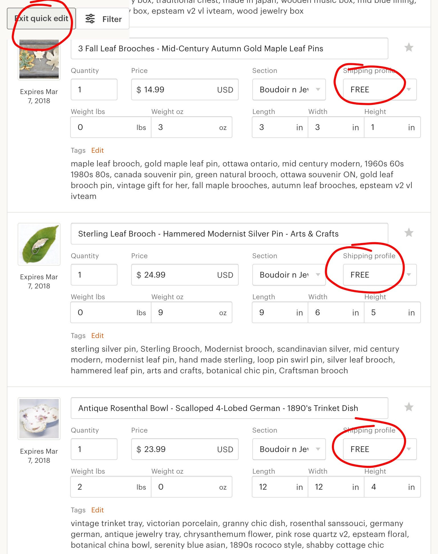 Etsy quick edit feature for free listings
