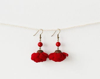 Earrings, Flower Earrings, Boho Earrings, Wedding Earrings, Red Earrings, Earrings Flower, Women Earrings, Bridal Earrings, Handmade
