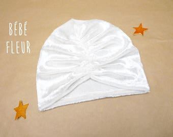 Turban Cap in Off-White Velvet Strap, 7 Sizes in Adult