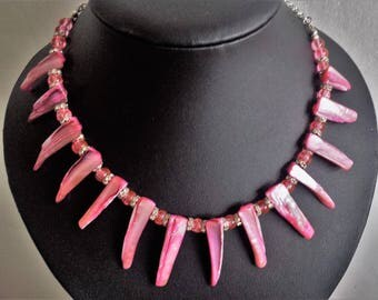 Mother of Pearl Pink Spikes with contrasting glass beads Necklace