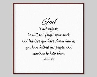 Hebrews 6:10 Scripture Canvas Wall Art - God is not unjust