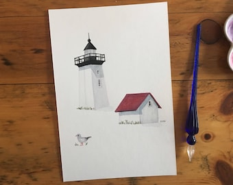 "FINE ART ""Woods End Lighthouse"" in Provincetown, limited edition Giclee Print from watercolor illustration"