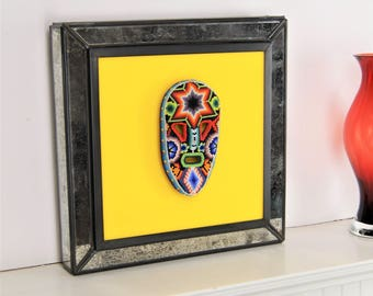 Beaded Mexican Mask, Frame in Antique Mirror, Huichol Multicolored Glass