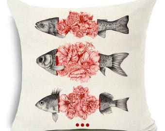 Floral x Fish Unusual Print Cushion Gothic 45x45cm complete with high quality cushion pad