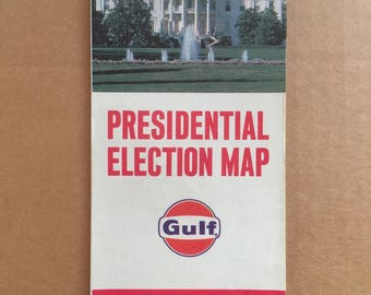Vintage Gulf 1964 Presidential Election Map 22 x 17 Excellent!