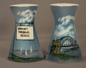 Vintage '60s STUDIO ANNA-Australia Hand-Painted S&P Shakers–Sydney Harbor Bridge w/ Original Sticker