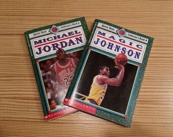Collectible Michael Jordon Book 1, Magic Johnson Book 4, Set of Two Sports Shots Collector's Books 1991 Scholastic, Inc