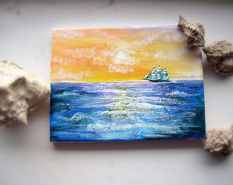 The original bright sunset acrylic sea scape