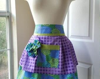 Purple Polka Dot Floral Apron