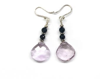 Silver Earrings with black spinel and pink amethyst stones.