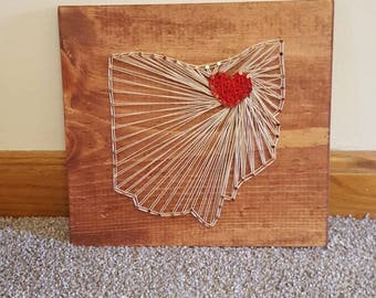 Ohio string art with heart