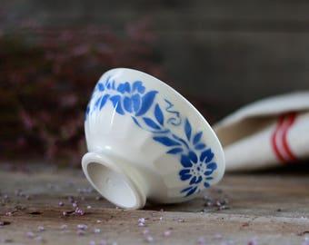 "French antique bowl. French bowl ""Café au lait"". Digoin Sarreguemines. Collector bowl. Faience bowl. Small bowl Digoin. Mini bowl."