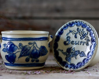 Vintage ceramic butter pot. French butter dish. Vintage pottery. French butter pot. Ceramic butter cooler. Cooler pot. Butter crock. Butter.