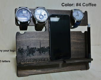 Best Gift for Men, NightStand Anniversary, Desk organizer, Nightstand, Wood Organizer, Docking station, Glasses holder, iphone Charging dock