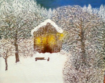 Original Art Oil painting Landscape Impression on Canvas Winter warmth Abstract