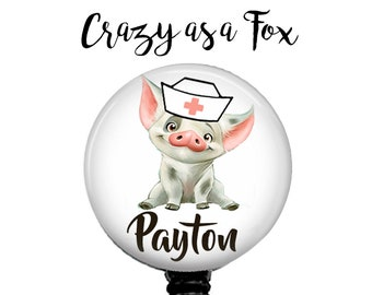 Moana Nurse Pua Personalized Retractable Badge Holder, Badge Reel, Lanyard, Stethoscope ID Tag, Nurse, RN, Nursing Student  Gift