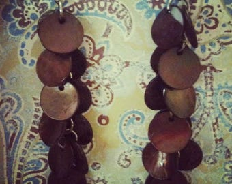 Chocolate Shell Cluster Earrings