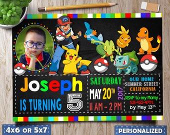 pokemon invitation, pokemon birthday, pokemon party, pokemon invite, pokemon invitation with photo, pokemon favors, pokemon invite download