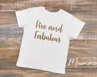 Five and Fabulous, Fifth Birthday, Five, Custom Children's T-Shirt