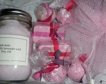 Scented Bath Salts, Bath Bombs, Soap and sets