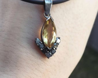 Pendant with citrine , diamonds and black gold