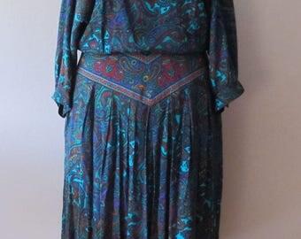 Vintage R.E.O. Originals Paisley Dress Size 12 USA