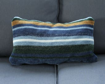 Blue and brown striped sweater pillow cover
