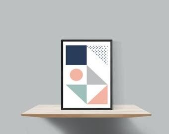 Bold geometric scandinavian inspired print , Untitled #2