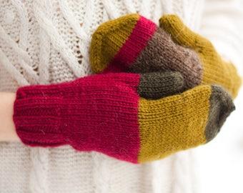 Striped wool mittens HYPERBOREA. FOXBERRY Soft knitted mittens Warm winter mittens Women mittens Men mittens Handmade mittens Cozy mittens