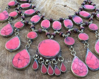 Afghan boho coral stone drop gypsy necklace
