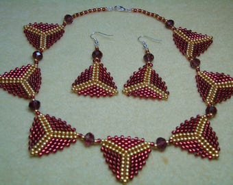 Triangle Pendant 16 1/2 inch Necklace and Earrings Set
