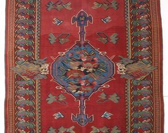 Antique Persian Bijar Region Kilim, Floral French Influenced Design, Circa 1890.