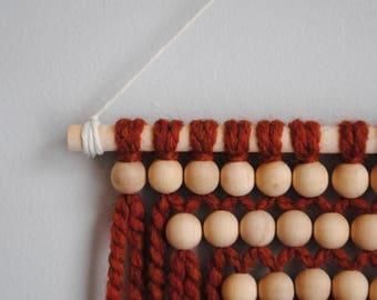 Small wood bead macrame wall hanging
