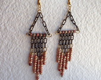 Mixed metal chandelier earrings