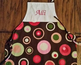 Child's machine embroidered personalized reversible apron