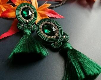 Emerald Crystal Soutache Earrings Statement Earrings Ethnic Boho Chic Green Tassel Earrings