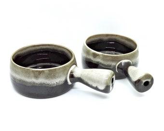 Vintage Ceramic Soup Bowls | Glazed Pottery | French Onion Soup Crock | Soup Bowl With Handle | Set of Two Soup Bowls | Clay Soup Bowl
