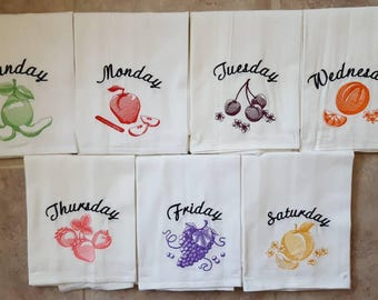 Colored Fruit Days of the Week Embroidered Flour Sack Dish Towels