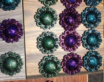 """1 1/2"""" Nickel Plated Concho Drawer/Cabinet Pulls and Handles Peacock/Jewel Tones with Hardware"""