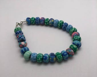 Blue floral beaded jewelry