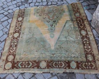Unique anatolian rug turkish rug 4.9 x 4.9 ft. small area rug Free Shipping nomad rug vintagearearug boho rug wool rug bohemian rug MB210