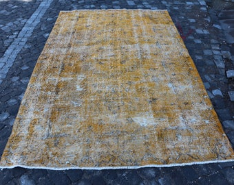 Orange rug, Free Shipping 5.4 x 8.9 ft. overdyed rug, large size rug, turkish area rug, anatolian floor rug, handknotted rug, boho rug MB313
