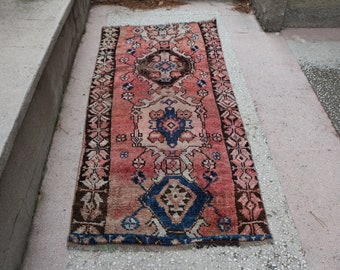 Pink color anatolian runner rug, Free Shipping  3. x 6.4 ft. pastel color kars rug, low pile hallway rug, pinkish rug, turkish rug, MB418