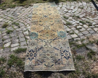 Runner area rug, Free Shipping  2.3 x 8.2 ft. handknotted rustic rug, bohemian unique rug, runner area rug, hall runner rug, boho rug, MB433